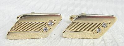Vintage Elegant Diamond Shaped Crystal Rhinestone Cufflinks Gold Plate
