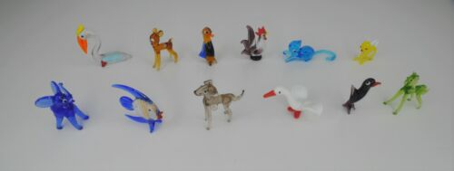 Vintage Lot of 12 Hand Blown Glass Animal Figures, Original Packaging NIB