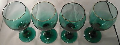 4 Vintage Arby's Libbey Glasses Green Wine Goblets Water Gold Holiday 1980's