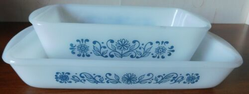 Glasbake Baking Dish and Loaf Pan Blue Flowers Floral Pattern