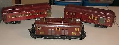 AMERICAN FLYER WIDE GAUGE STD GA PREWAR No. 4019 MAROON ELECTRIC W/ Two Cars