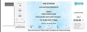4 x Adele Tickets -  Fri 10th March 17 - Alcohol Free Area Kensington Eastern Suburbs Preview