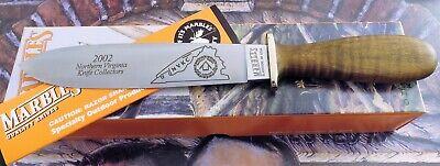 Marbles USA San Francisco Dagger Knife 2002 NVKC Club Flames Curly Maple MIB! NR