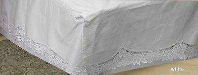 Creative Linens Battenburg Lace Bedskirt Dust Ruffle TWIN White 100% Cotton
