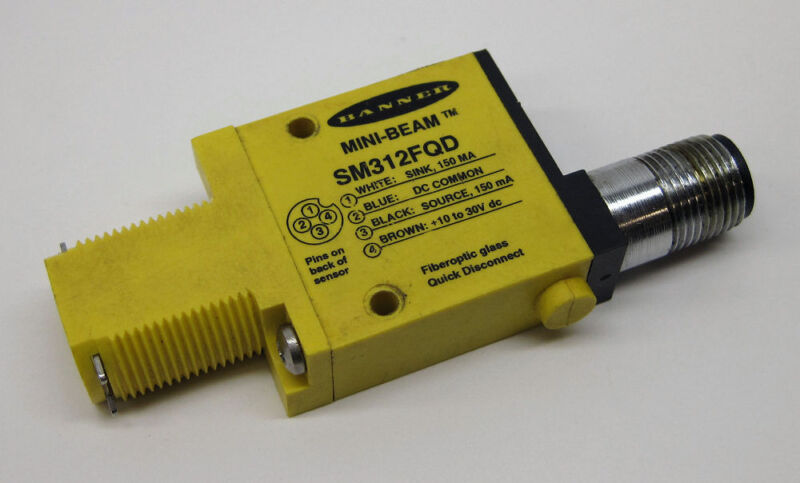 Banner SM312FQD Mini-Beam Infrared Fiber Optic Photoelectric Sensor w/QD, 26836