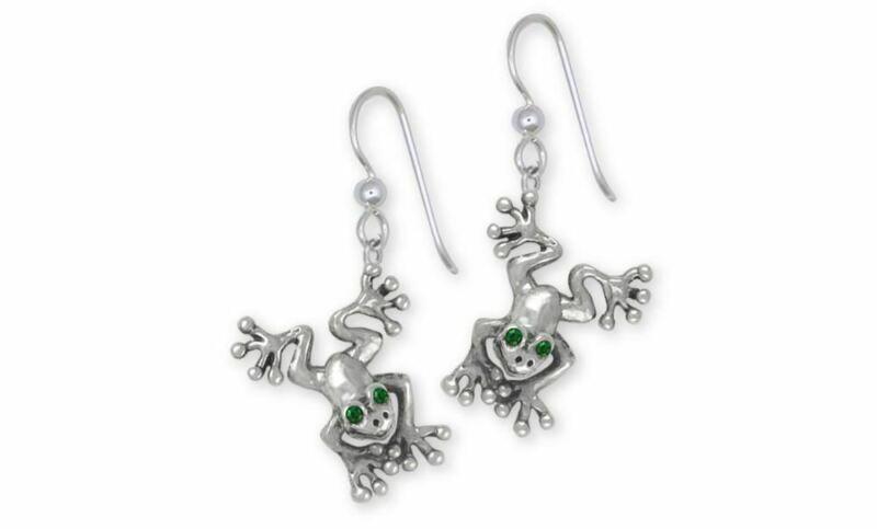 Frog Earrings Jewelry Sterling Silver Handmade Frog Earrings FG30-XE
