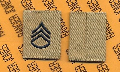 US ARMY Enlisted STAFF SERGEANT SSG E-6 Desert DCU slip on rank patch