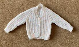 Baby Girl Hand Knitted White Cardigan 3 - 6 Months