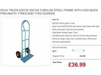SACK TRUCK 633752 250 KG TUBULAR STEEL FRAME WITH HIGH BACK PNEUMATIC TYRES AND TYRE GUARDS