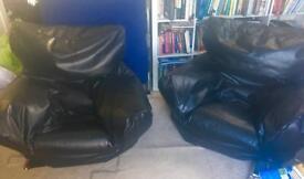 2 fake leather bean bag chairs