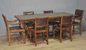 Large Vintage Carved Oak Pull Out Extending Dining Kitchen Table & Six 6 Chairs