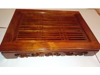 Tea Ceremony Tray Table, Elegant Hand Carved Chinese Ebony Brown Strong Rosewood