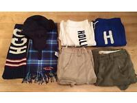 Collection of brand new men's Hollister clothing. Shorts, joggers, a hat and scarves