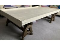 A EXTRA LARGE SOLID WOOD RUSTIC STYLE COFFEE TABLE ,NICE USED CONDITION FREE LOCAL DELIVERY