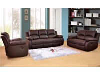 5 YEARS WARRANTY**Recliner sofa 3 And 2 seater in BONDED leather