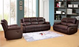 VALENCIA LEATHER RECLINER SOFA AVAILABLE IN 3 2 and 1seaters in BROWN