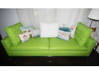 Designer Bespoke Real Leather Lime Green Sofa