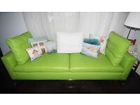 Designer Bespoke Real Leather Lime Green Sofa