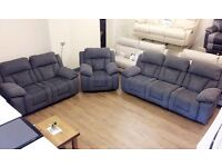 ScS - Long Beach , Grey Fabric, 3+2+1 MANUAL RECLINER, 3 Piece SOFA SUITE + FREE LOCAL DELIVERY