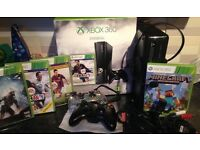 X-box 360 - 250gb - all leads - controller, headset & 3 games