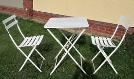 White Bistro Style Patio Table & 2 Chairs