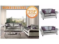 The Marilyn sofa three and two seater in silver crush velvet plus purple cushions