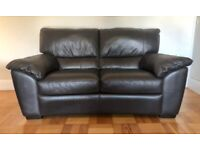 Two Brown Leather sofas - 2 and 3 seater