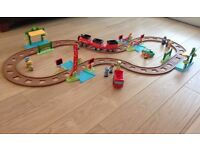 Happyland Train set with storage box, extra track, bus and figures.