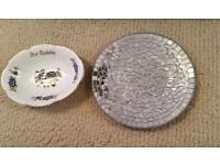 Candle plate and 21st porcelain bowl