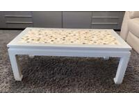 Coffee table solid wood with tiled mosaic top