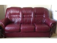 Large three seater sofa and large recliner chair, leather