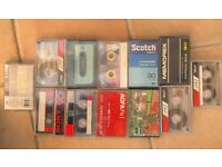 A selection of new and used cassette tapes.