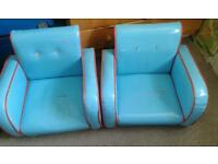 Pair of blue children's chairs