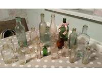 22 old glass bottles unusual