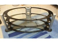 Oval TV Stand Black and Clear glass