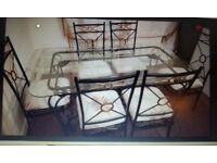 cast iron table 6 chairs & display unit