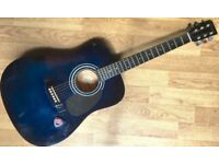Encore EN155BL Dreadnought Spanish Classical Acoustic Guitar Natural steel strings, full size
