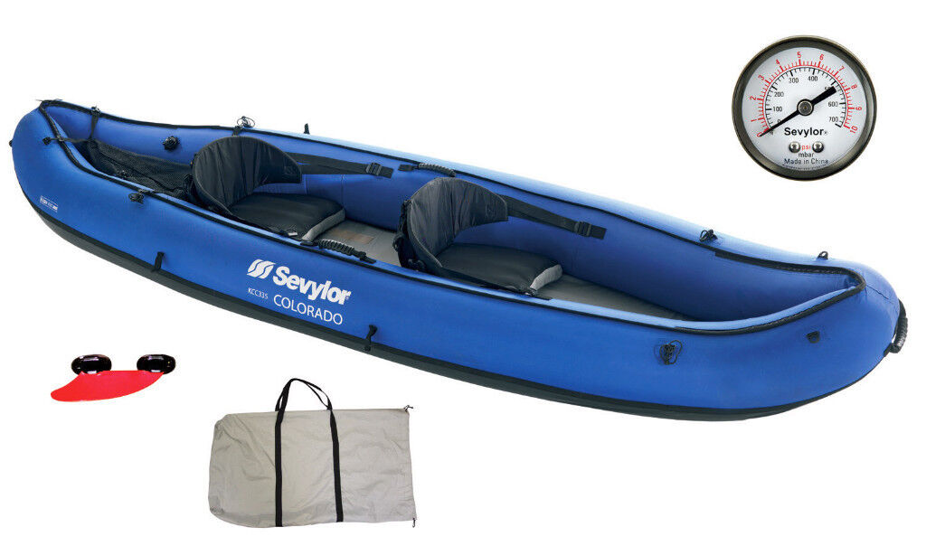 Sevylor inflatable kayak + 2 paddles - has had minimal use, bought last summer