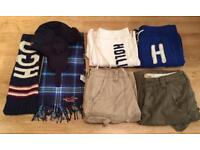 Bundle of brand new men's Hollister clothing. 3 pairs of Shorts, a pair of joggers, a hat, 2 scarves