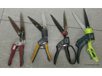 4 pairs of single handed rotating head grass shears (approx 13ins long)