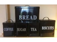Caddy Set - Bread bin, Coffee,Sugar, Tea & Biscuit tin