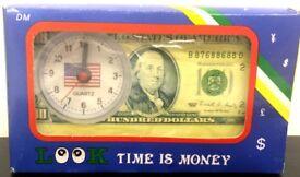 JOBLOT X50 QUARTZ ANALOGUE LOOK TIME IS MONEY $100 BILL FANCY ALARM CLOCK BATTERY OPERATED
