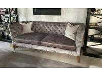 Luxurious quality grey velvet sofas x 2
