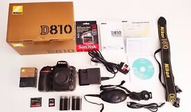 Nikon D810 36.3MP Digital SLR Camera - 2 batteries,charger,64gb & 32 gb card,Shutter count - 12909