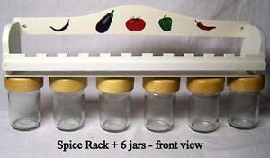 "Wood  Spice Rack 15"" +  6 glass jars, wood tops, air tight lids"