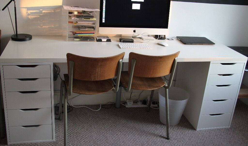 Long White Ikea Desk With Two Alex Drawer Units Good Ideas