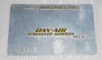 Rare Vintage Dan Air Scheduled Service Ticket Validation Plate Travel