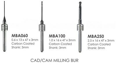 Carbon Coated Burs Amann Girrbach Cad Cam Milling Burs 2.50mm 1.00mm Or 0.60 Mm