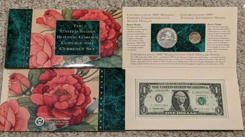 1997 US BOTANIC GARDEN COINAGE AND CURRENCY SET- MINTAGE OF ONLY 25,000 (RARE)