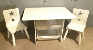 Kids Table with 2 Chairs - White
